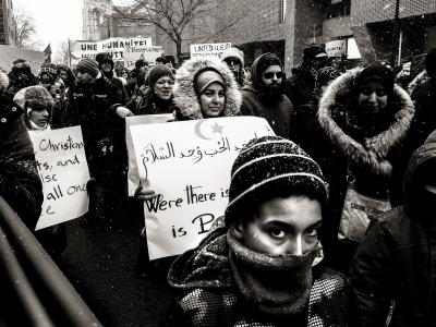 Manifestation de solidarité avec les communautés musulmanes du Québec