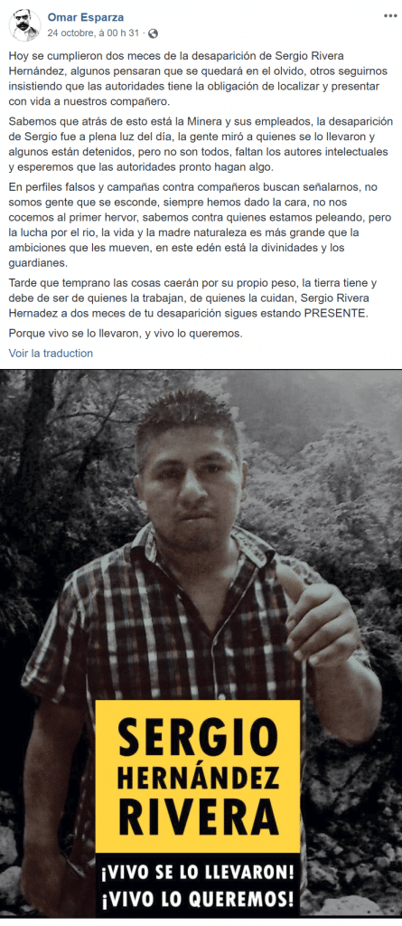 Disparition de Sergio Hernandez Rivera